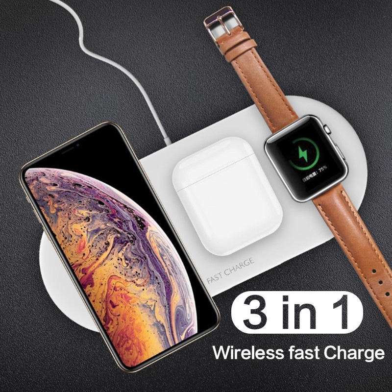 Fast Wireless Charger for iPhone 11 Pro X 8 Plus 3 in 1 <font><b>Qi</b></font> Wireless charging pad For Airpods For Apple <font><b>Watch</b></font> 4 3 2 1 Charge image