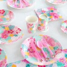 Havaí festa luau rosa flamingo festa placa de papel copo guardanapo festa de aniversário decoração do casamento de verão suprimentos de festa havaiana
