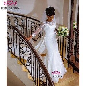 Image 4 - فساتين زفاف بيضاء نقية قابلة للانفصال فساتين زفاف ناعمة من الساتان رداء دي ماري W0607