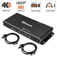 HDMI KVM anahtarı 4 Port 4K Ultra HD 4x1 HDMI KVM Switcher ile 2 adet 5ft KVM kabloları destekler mekanik ve multimedya KVM USB2.0