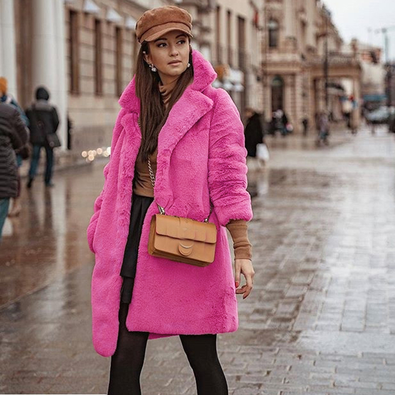 Faux Fur Coat Rose Red Long Winter Coat Women Veste Femme Female Plush Autumn Loose Overcoat Fleece Jacket Mujer Chaqueta Mujer