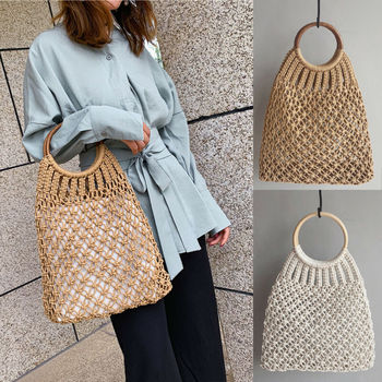 Hand Woven Women Eco Shopping Bags Boho Handbag Bali Basket Vintage Rattan Straw Beach Mesh Shoulder Bag Purse Organizer 1