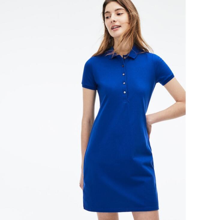 Crocodile polo dress women shirt 2020 luxury brand casual dresses t shirt femal summer turn down collar short sleeve ladies