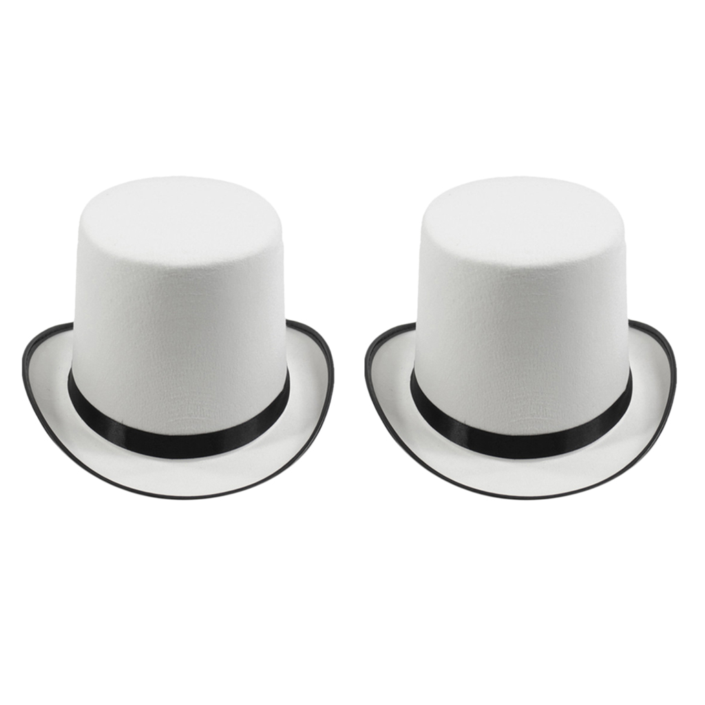 Cap Top-Hat Dress Party-Cap Magician Jazz Fancy Formal White Womens Trilby 2PCS Costume-Accessory title=