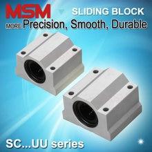 4 pces msm blocos de rolamento linear sc8uu sc10uu sc12uu sc16uu sc20uu sc25uu sc30uu alumínio habitação deslizante unidades cnc peças (mm)