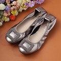 AUCVEE de cuero genuino cabeza cuadrada de fondo plano zapatillas de Ballet cómodos de las mujeres zapatos de Ballet zapatos planos de talla grande 34-44