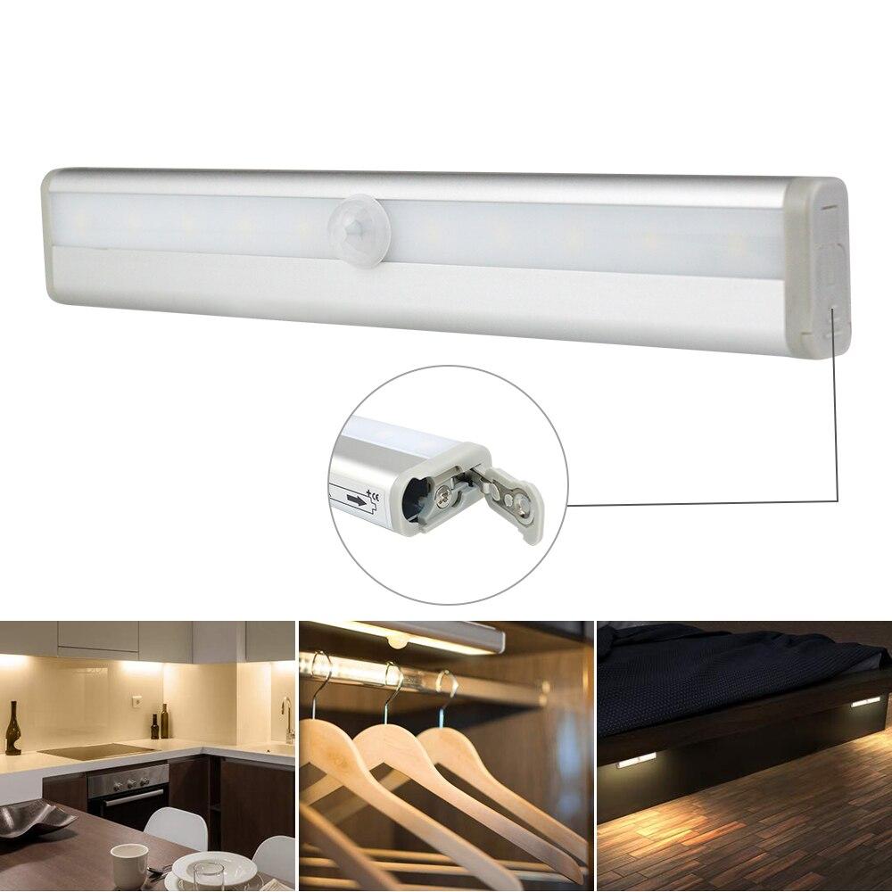 10 светодиодный s беспроводной PIR датчик движения светодиодный светильник для шкафа USB Перезаряжаемый/AAA На Батарейках Инфракрасный индукцио...