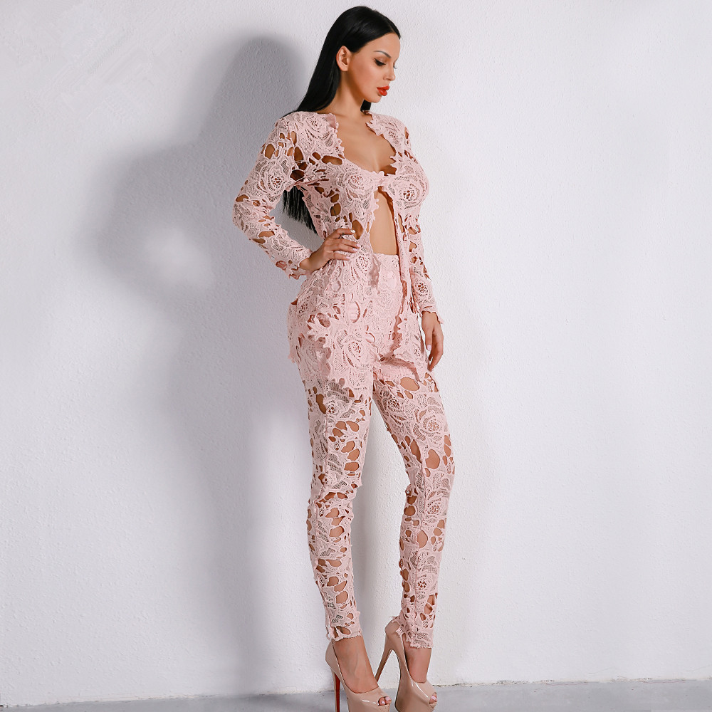 2019 Europe And America Long Sleeve Sexy Deep V Lace Joint Hollow Out Two-Piece Set WOMEN'S Casual Suits Ft8646