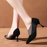 Female fashion high heels Mesh decoration Breathable black Pointed sexy party daily prom pumps stiletto heels shoes W32 38