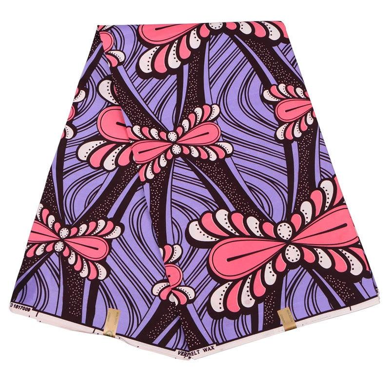 2019 Wax Fabric Purple And Pink Bow Print Fabric High Quality African Nigeria Veritable Ankara Real Dutch Wax