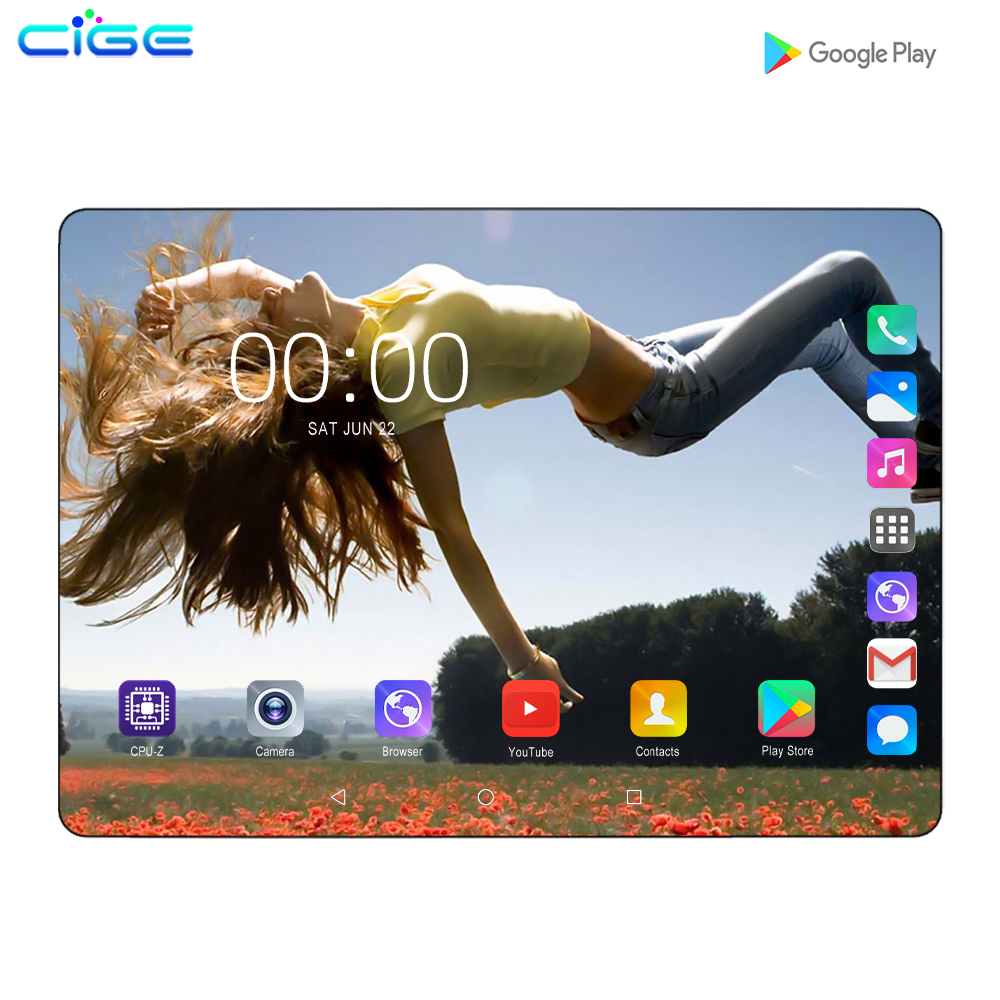 CIGE Mx960 10 Inch Tablets Plus Android 8.0 Octa Core 6GB/128GB 1280*800 2.5D IPS Screen WIFI SIM 4G LTE Phablet Tablet Pc 10.1
