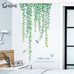 Natural Green Leaves Vine Wall Sticker Vinyl DIY Mural Art Sticker for Living Room Bedroom Wall Decals