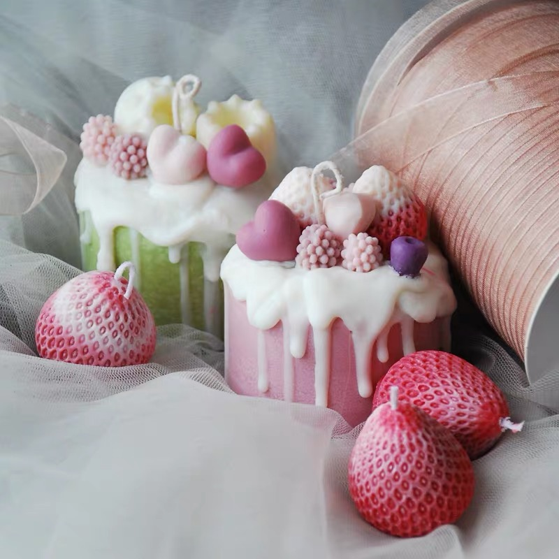 Ins Hot Simulation Cake Candle Mold Silicone Mould Fruit Shape Candle Making Soybean Wax Molds For Candle
