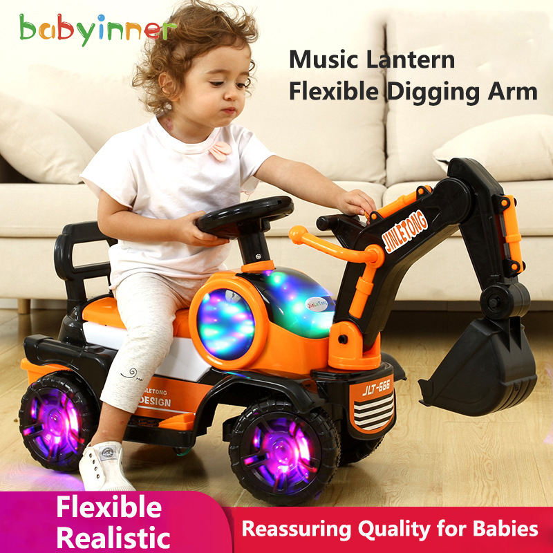 Baby Inner Kids Ride On Car 68*34*45cm Large To Ride On Toys Child Digger Vibration Flash Wheel