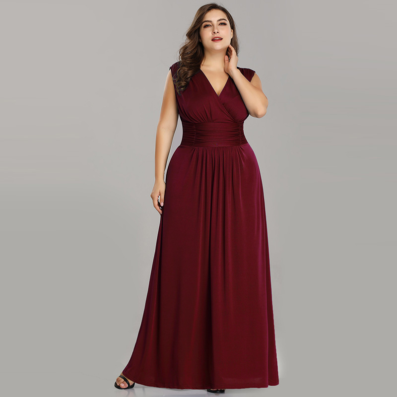 Pretty Forever Plus Size Floor-Length Long   Evening     Dress   2019 Elegant A-Line V-neck Prom Formal   Dresses   With Sashes for Party