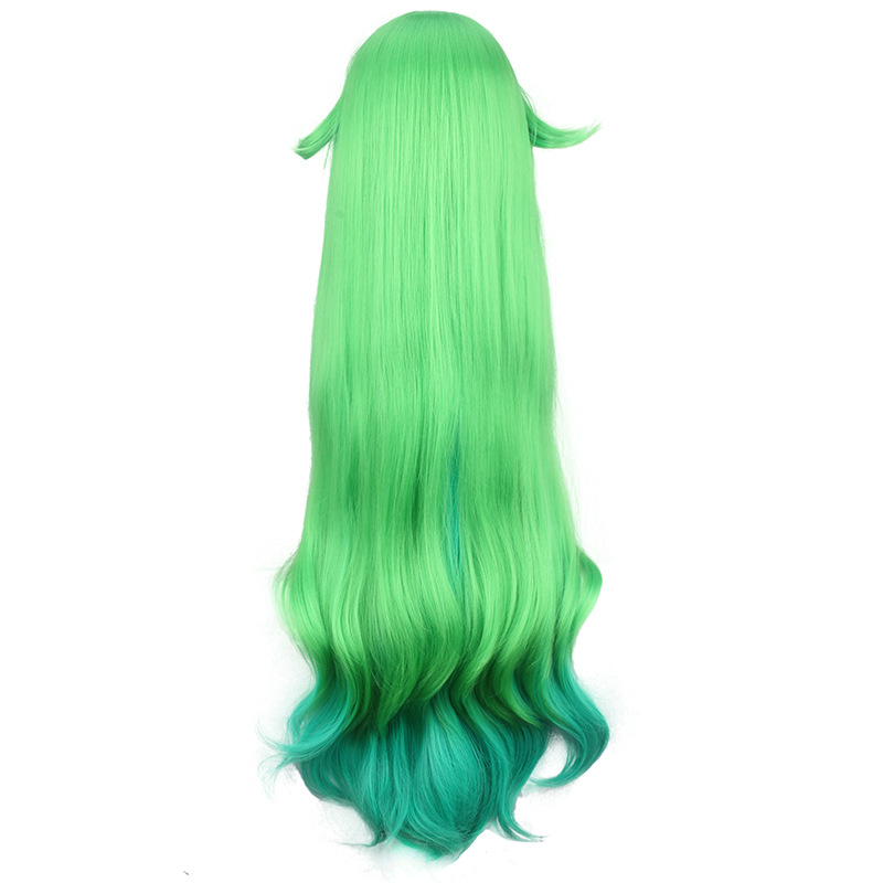 Image 5 - LOL Star Guardian Lulu Green Blue Mixed Color Curly Long Synthetic Hair Heat Resistant Cosplay Halloween Carnival + Free Wig CapGame Costumes   -