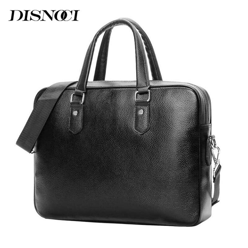 DISNOCI Genuine Leather Men's Briefcase Business Laptop Bag Handbag Men Shoulder Bag Casual Crossbody Bags Male Messenger Bags