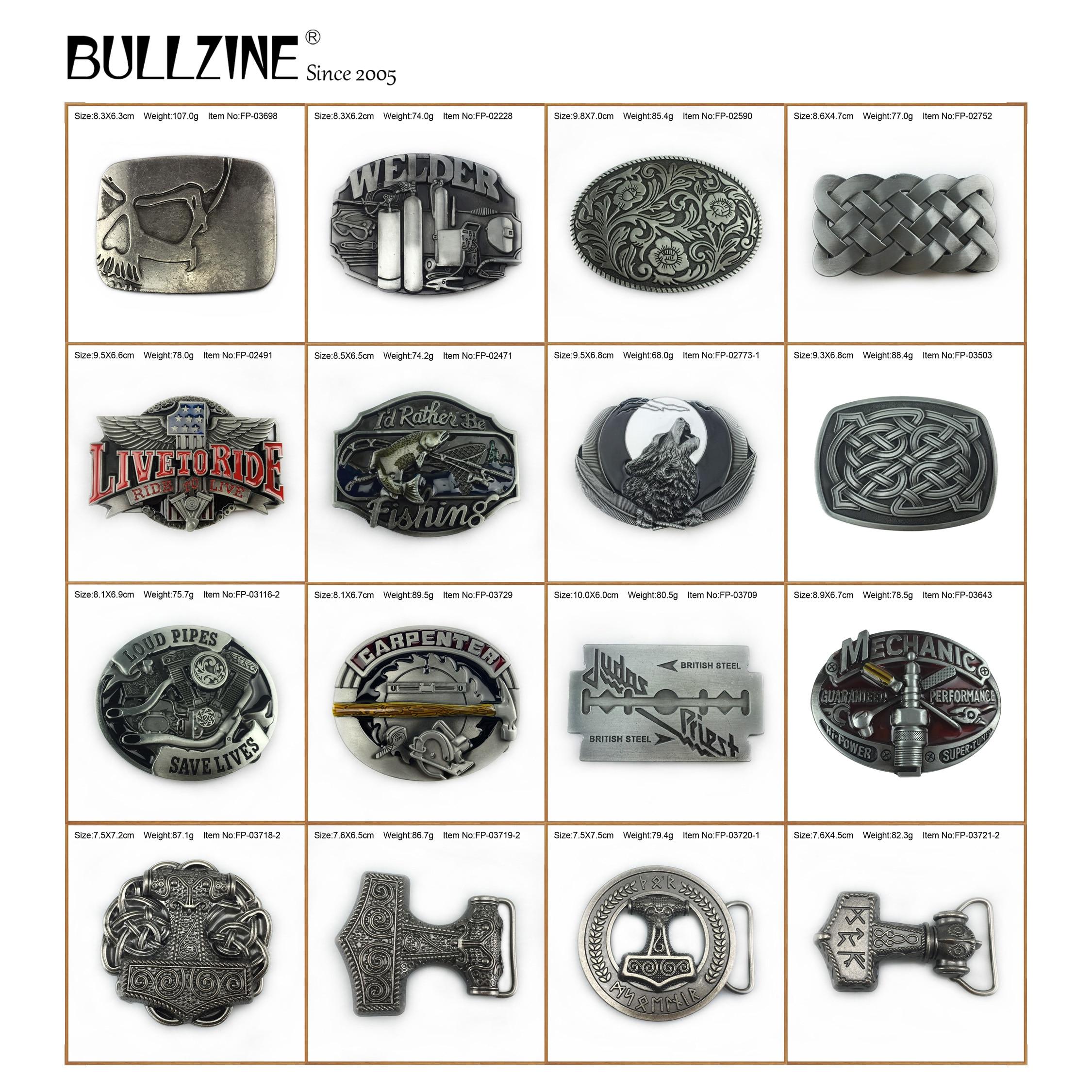 Bullzine Zinc Alloy Mjolnir THORSHAMMER VIKING JUDAS Skull Belt Buckle Welder Wolf CARPENTER MECHANIC Celtic Fishing Belt Buckle