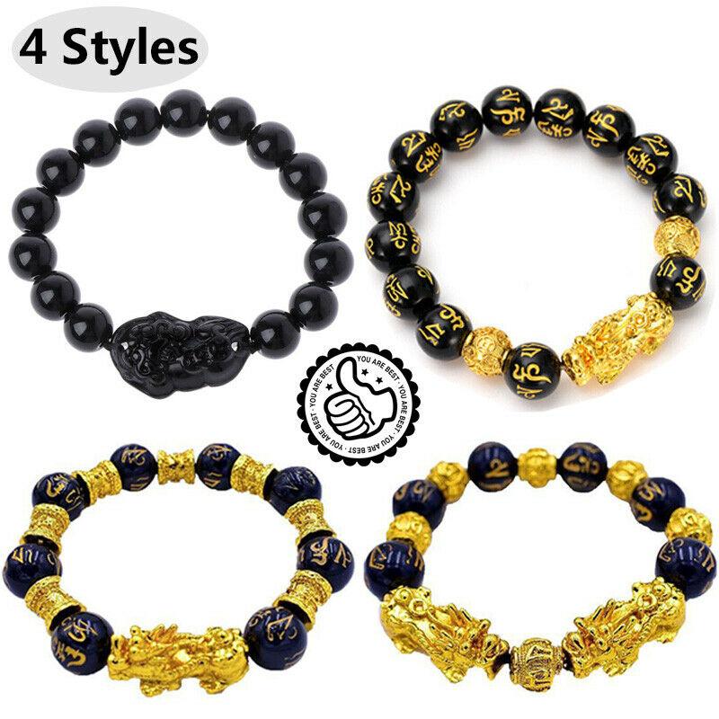 Unisex Obsidian Stone Beads Bracelets Pi Xiu Wristband Wealth and Good Luck Chain Women Men Religious Strand Bracelets