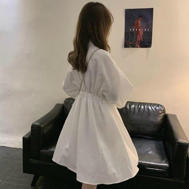 Woman Dress Long Sleeve Preppy Style Solid Sweet undefined Dresses Simple Elegant Pleated Japanese Students Womens Streetwear 6
