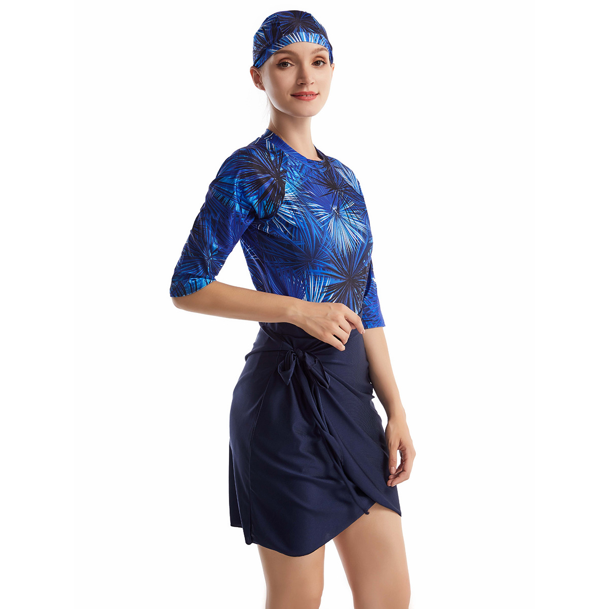 Frauen Rashguard Bademode Body + Rock + Kappe navy blue 2.jpg