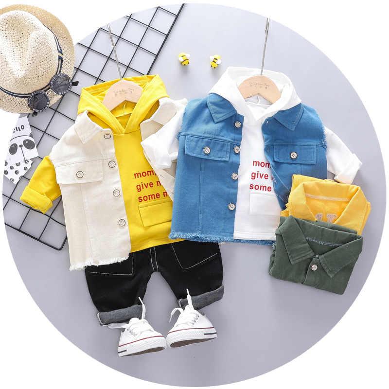 Masculino roupas de outono do bebê cowboy três peças conjunto de roupas para bebês 2019 novo estilo pequeno conjunto das crianças