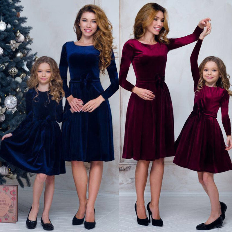 Mother Daughter Dressesmom And Daughter Dress Velet Family Matching Clothes Women Kids Girl Formal Party Princess Dress