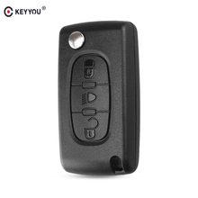 KEYYOU-funda para llave de coche, cubierta de 3 botones con tapa, mando a distancia, plegable, para Citroen C2, C3, C4, C5, C6, C8, XSARA, hoja VA2/HU83
