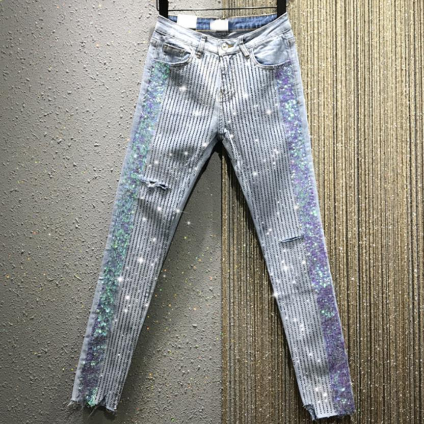2020 Spring Autumn New High Waist Skinny Jeans Women Stretch Fashion Heavy Work Sequins Hot Drilling Hole Pencil Jeans
