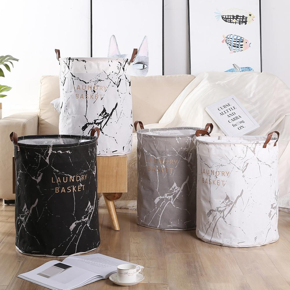 Marble Grain Bedroom Clothes Storage Bag Container Folding Laundry Basket Bucket