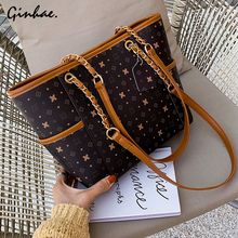 Vintage Large Capacity Leather Handbag Women Chains Shoulder Bags Simple Casual Tote Big Travel Tote Bags For Women Sac A Main стоимость