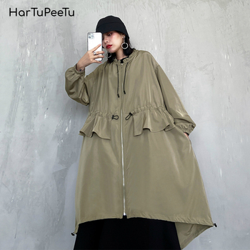 Trench Coats Dress Women Tunic Drawstring Outwear Patchwork Ruffles Irregular Hem Lace-up Laciness Neck 2020 Spring Basic Coat