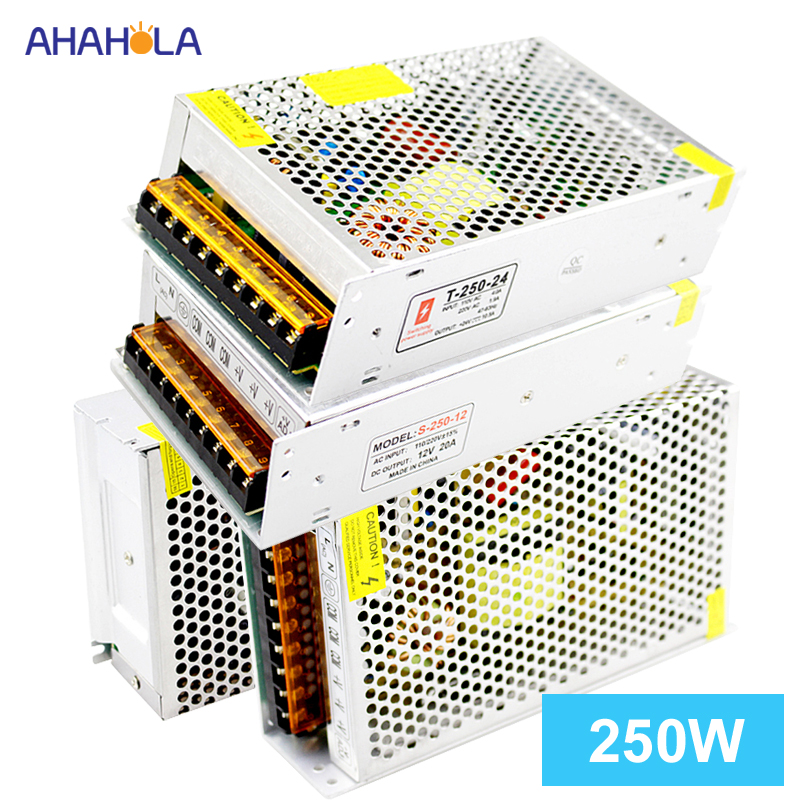 AC <font><b>220</b></font> V to DC 12 V 24 Volt Switching Power Supply 12v 20a 24v 10a 250w Smps Source 12v 24v DC Power Supply for Led Strip image