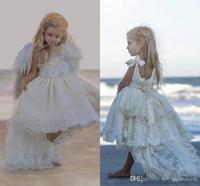 Ball Gown Flower Girl Dresses For Wedding Lace Handmade Flowers Birthday Wear First Communion Dress Tulle Luxury Girls Pageant G