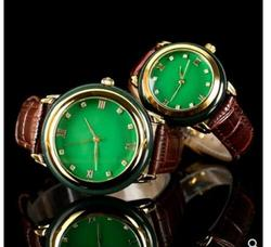 green Jadeiteer jades Stone Male women couples Quartz wristwatch dark green Retro Sweet Simple Watch