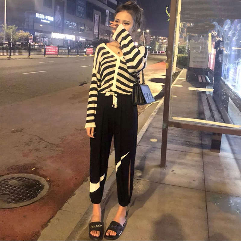 Autumn Clothing Women's 2019 New Style Hong Wei Wang Red Fashion Loose Clothes Cool Inflooring Social Disco Dancing Two-Piece Se