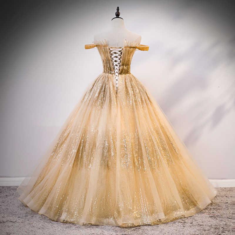 Vestidos De Quinceañera Largos De Lujo De Princesa De Lujo Para Quinceañera Con Lentejuelas Y Cuello Bote Vestido De Fiesta