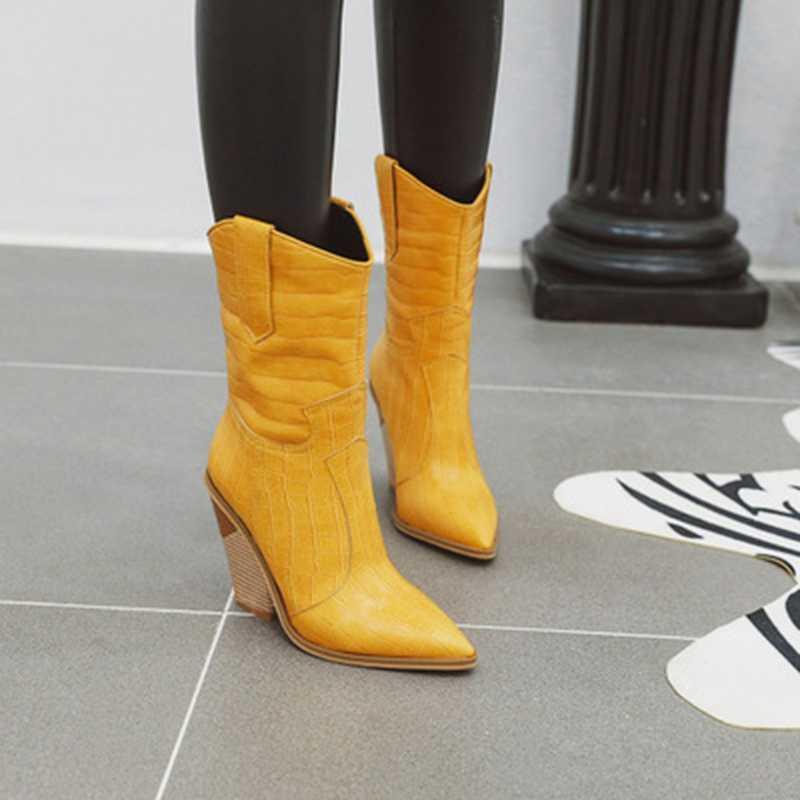 Oeak bayan botları batı kovboy çizmeleri kadınlar için sivri burun Cowgirl kısa çizmeler orta buzağı çizmeler siyah beyaz kış kadın ayakkabı
