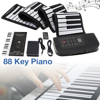 88 Keys Roll Up Electronic Piano Rechargeable Silicone Flexible Keyboard Organ Built-in Speaker Supports MIDI Bluetooth
