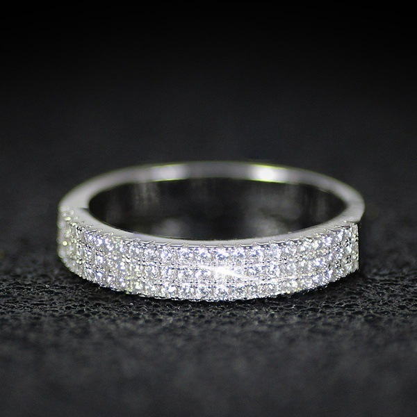 Hollywood Triple Promise ring 925 Sterling silver Pave AAAA cz Wedding Band Rings for women Bridal Statement Party Jewelry 3