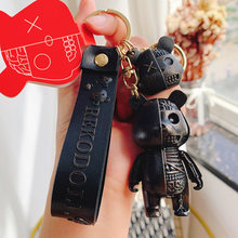 Fashion Cartoon Funny Half Skull Body Bear Keychain Fashion Punk Animal Keyring Car Bag Pendant Key Chains Couple Halloween Gift