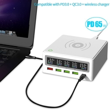 PD3.0 + QC3.0 Quick Wireless Charger 5 USB Ports 65W for PD