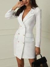 цены на 2019 Fashion Women White Dress Double-breasted Sexy Solid Color Thin Suit Dress Long Sleeve V-neck Women Clothes Boho Mini Dress в интернет-магазинах