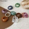 HUANZHI 2020 Neue Bunte Transparente Acryl Unregelmäßigen Marmor Muster Ring Harz Schildkröte Ringe für Frauen Mädchen Schmuck