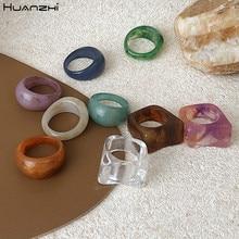 Huanzhi 2020新カラフルな透明アクリル不規則な大理石パターンリング樹脂亀リング女性ガールズジュエリー