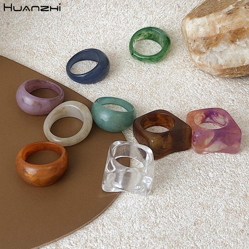 Huanzhi 2020 novo colorido transparente acrílico irregular padrão de mármore anel resina tortoise anéis para mulheres meninas jóias