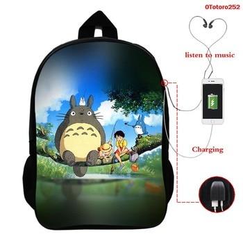 Anime Totoro Studio Ghibli Backpack Usb School Bag for Girls Boys Spirit Away Children Backpacks Travel Rucksack Knapsack