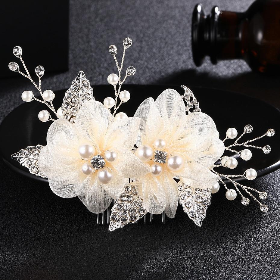 Brides Hair Comb Ivory White Silk Flower For Handmade Wedding  Headdress Bridal Hair Accessories Wedding Hair Jewelry FS147