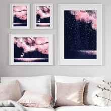 Watercolor Starry Sky Pink Tree Sika Deer Nordic Posters And Prints Wall Art Canvas Painting Cartoon Pictures For Kids Room