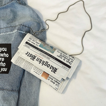Dámska mini taška cez rameno s potlačou novín